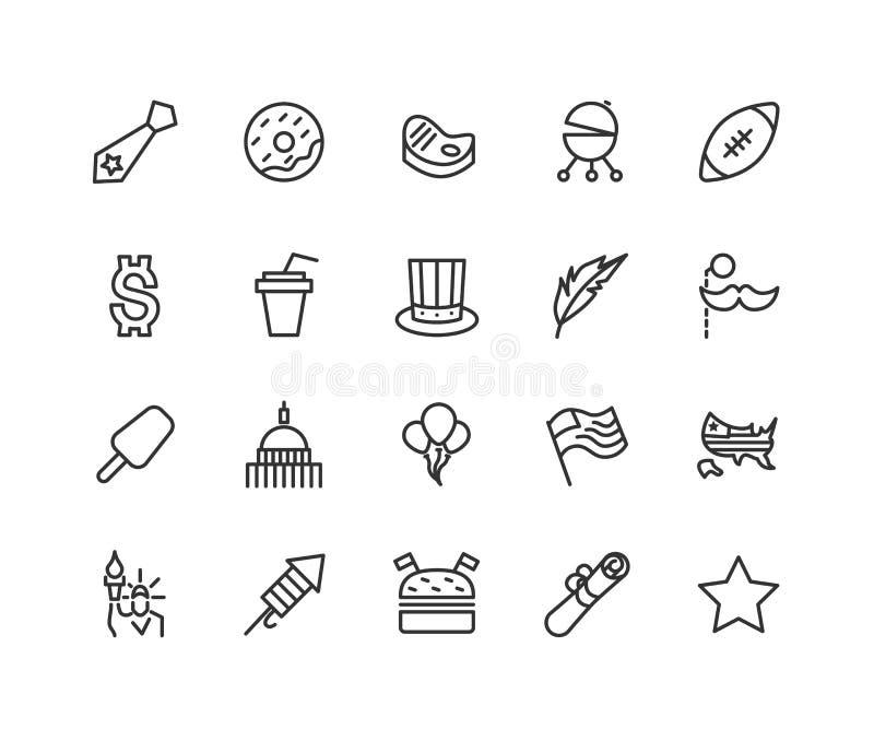 Prosty set usa wektoru linii dzień niepodległości Odnosić sie ikony Zawiera taki ikony które kapelusz, flaga, balony, salut i ilustracji