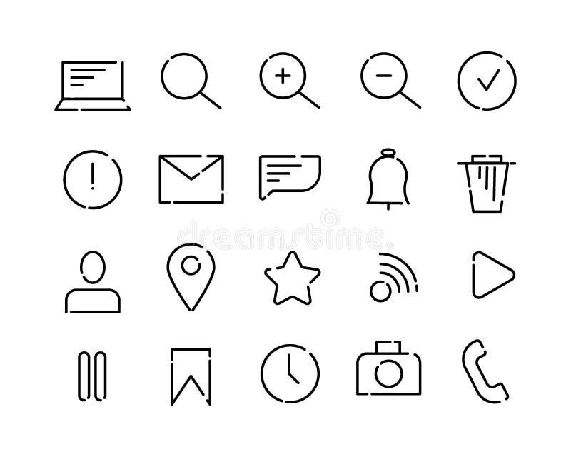 Prosty set wektorowe ikony na temacie sieć i app Czerń kropkujący wykłada na białym tle List, rewizja, wiadomość royalty ilustracja
