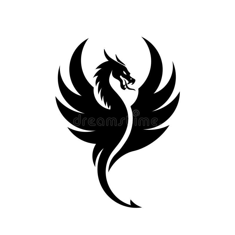 Prosty smok sylwetek logo royalty ilustracja