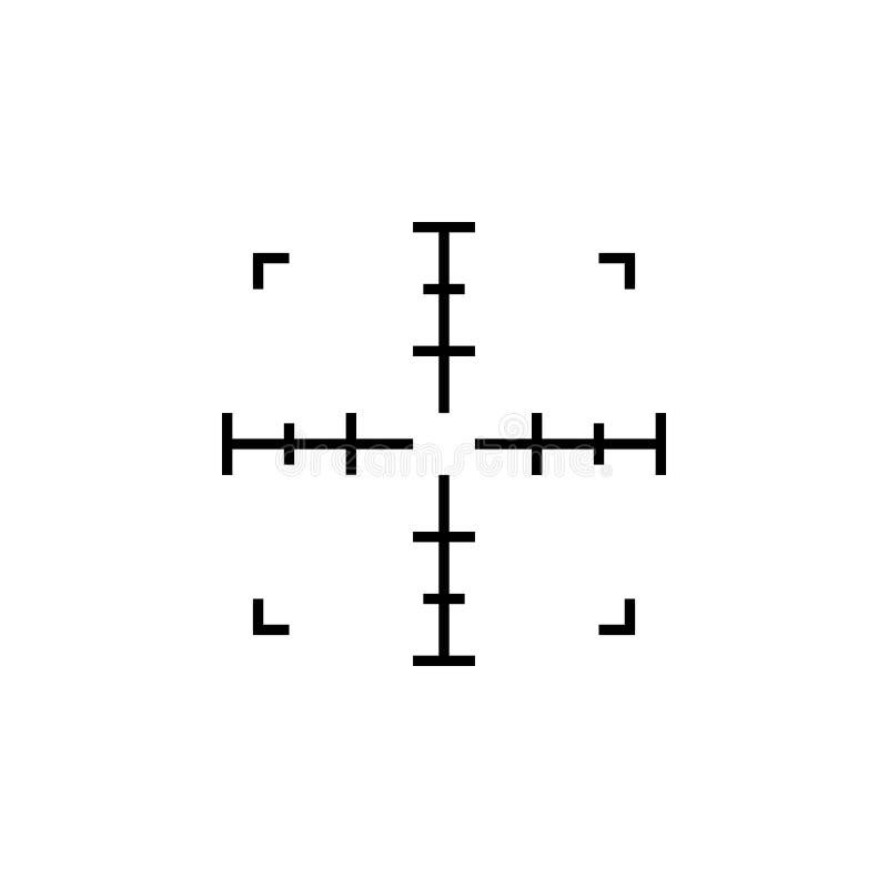 Prosty snajperskiego karabinu celu cel AR crosshairs Armatnia zakres ikona ilustracja wektor