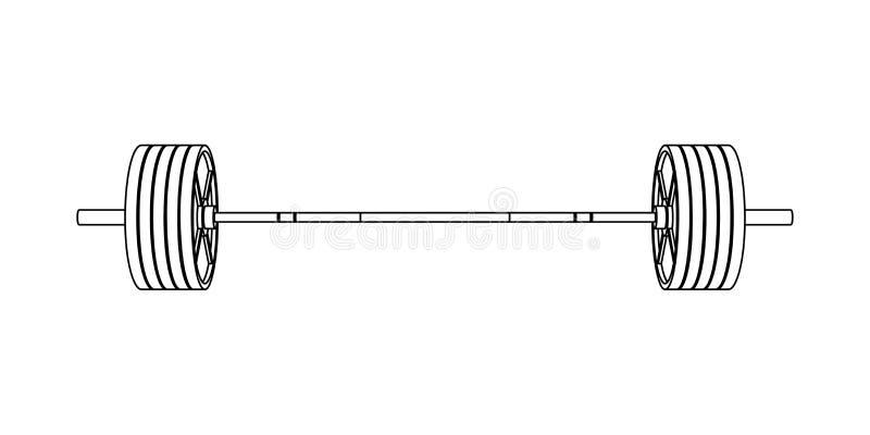 Prosty sprawności fizycznej kreskowej sztuki frontowego widoku wektor olimpijski barbell z stalowymi talerzami na białym tle ilustracja wektor