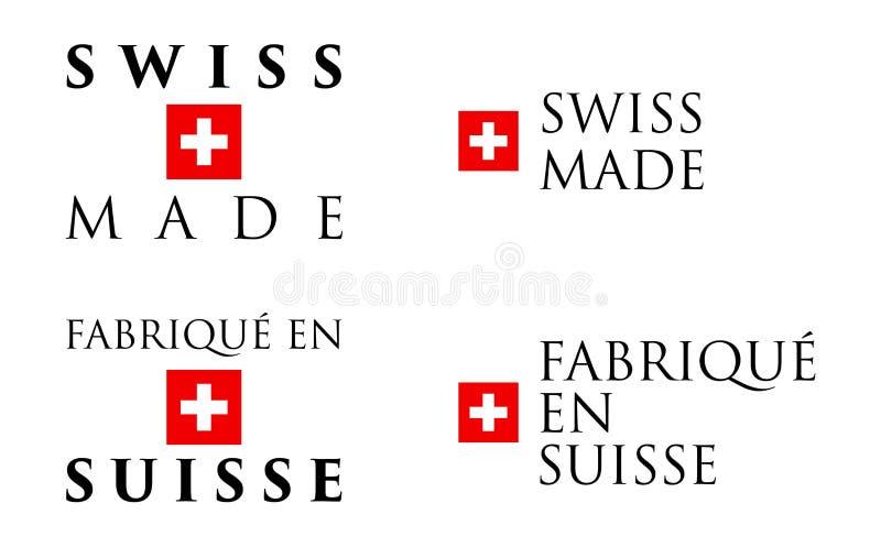 Prosty szwajcar Zrobił, Fabrique en Suisse/francuski przekładowy labe ilustracji