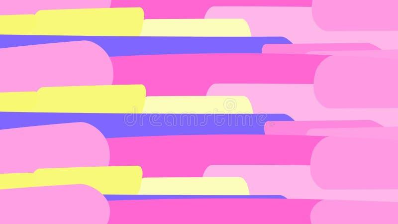 Prosty tło od minimalistic kolorowych pstrobarwnych jaskrawych geometrycznych kształtów, owale z zaokrąglonymi kątami układającym royalty ilustracja