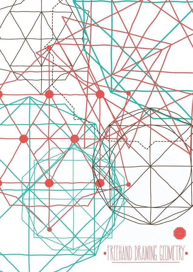 Prosty tło, plakat z abstrakcjonistycznymi geometrycznymi postaciami, linie ilustracja wektor