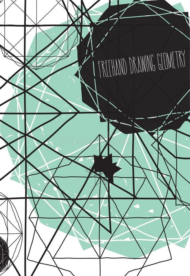Prosty tło, plakat z linii handwork chrzcielnicą, abstrakcjonistyczny geo ilustracja wektor