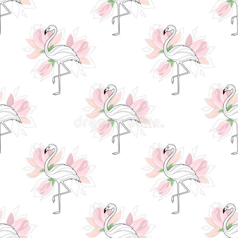 prosty tło z flamingami Prosty wzór Flaming i palma rozgałęziamy się na białym tle wektor ilustracji