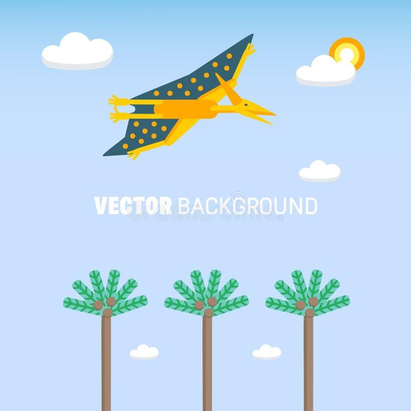 Prosty tło z mieszkanie stylu ikoną latać Pteranodon Piktogram pterozaur i krajobraz dla druku na koszulce lub projekcie ilustracji