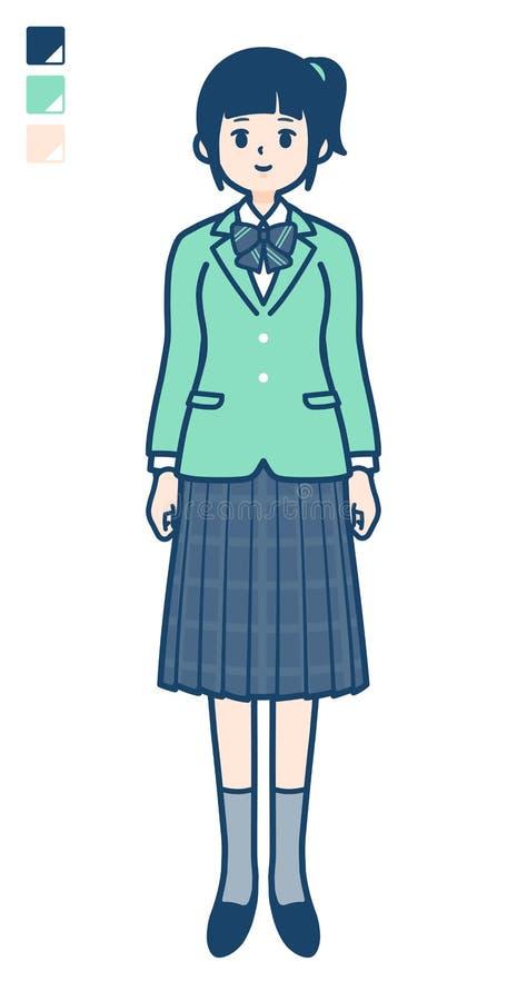 Prosty typ szkoły dziewczyny zieleni Blazer_full długość royalty ilustracja