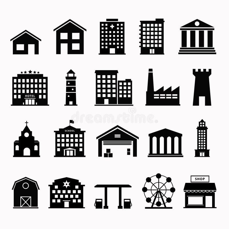 Prosty ustalony ikona budynek ilustracja wektor