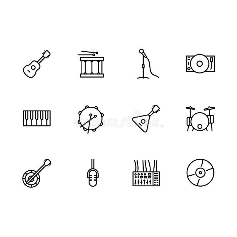 Prosty ustalony muzycznego instrumentu i wyposażenia wektor wykłada ikonę Zawiera taki ikona instrumentów muzykalną nawleczoną gi royalty ilustracja