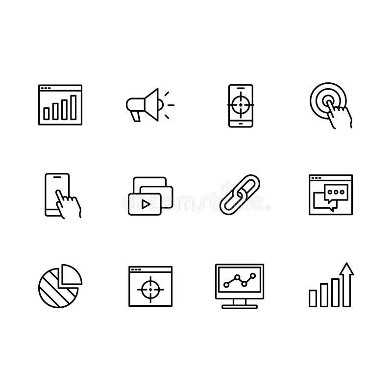 Prosty ustalony symbolu seo, sieć marketing i promocyjna kontur ikona, Zawiera taki ikona cel, zegarek lista, widownia ilustracji