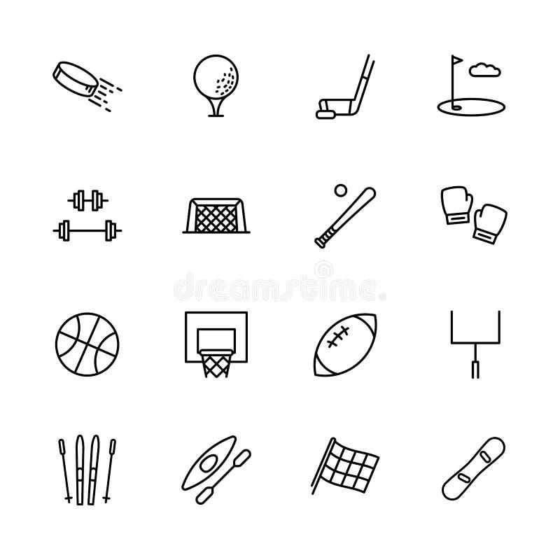Prosty ustalony symbolu sport, aktywność i Zawiera taki ikona hokeja, golf, krążek hokojowy, kij, bodybuilding, barbell, baseball ilustracja wektor