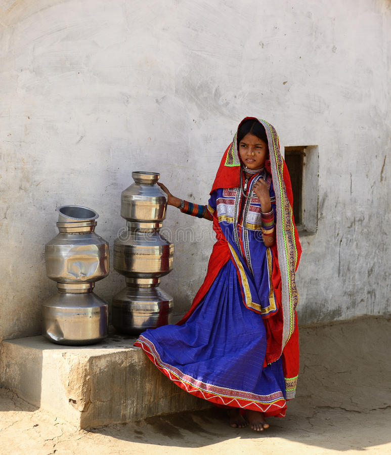 Prosty utrzymanie w wiosce na pustyni w Gujarat obraz stock