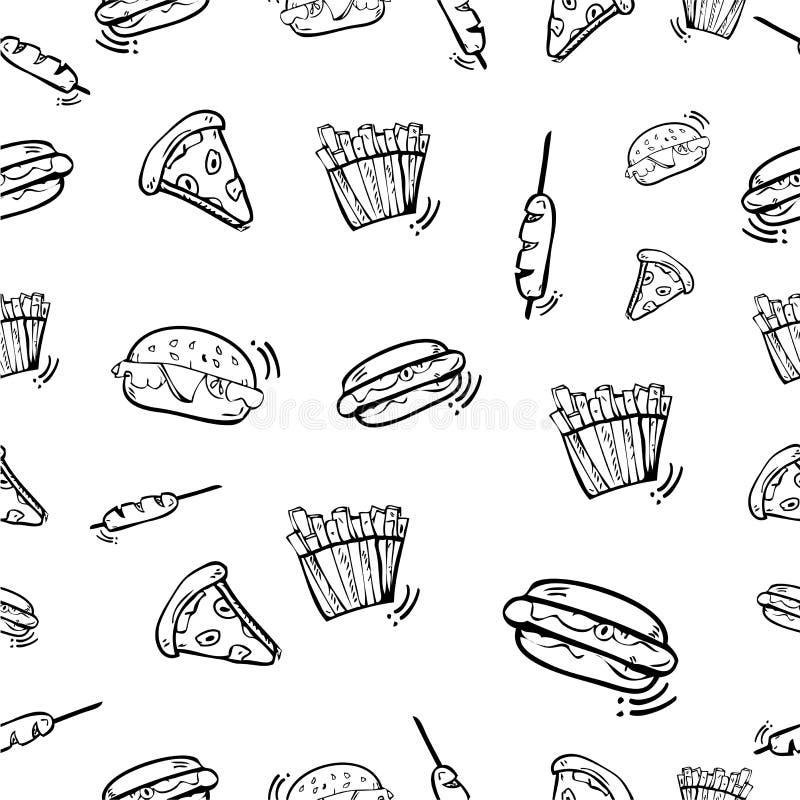 Prosty wektorowy bezszwowy deseniowy r?ka remisu nakre?lenie, hamburger, Hotdog, kie?basa, francuz?w d?oniaki i pizza dla opakunk royalty ilustracja