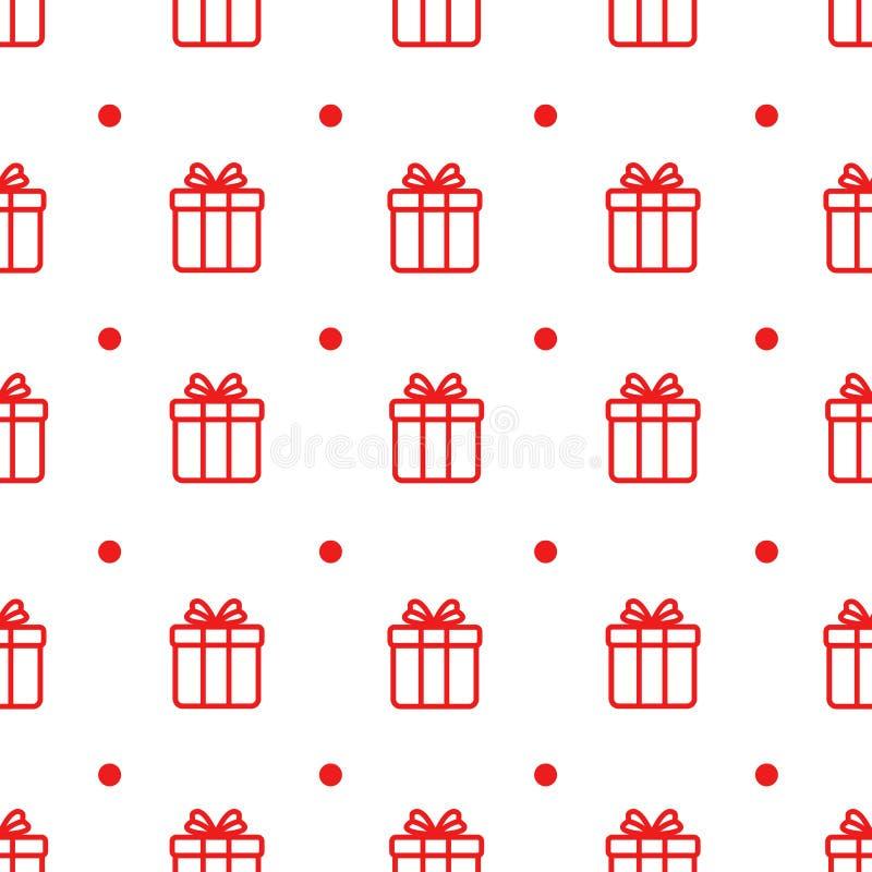Prosty wektorowy bezszwowy wzór z Bożenarodzeniowymi prezentami na białym tle ilustracji