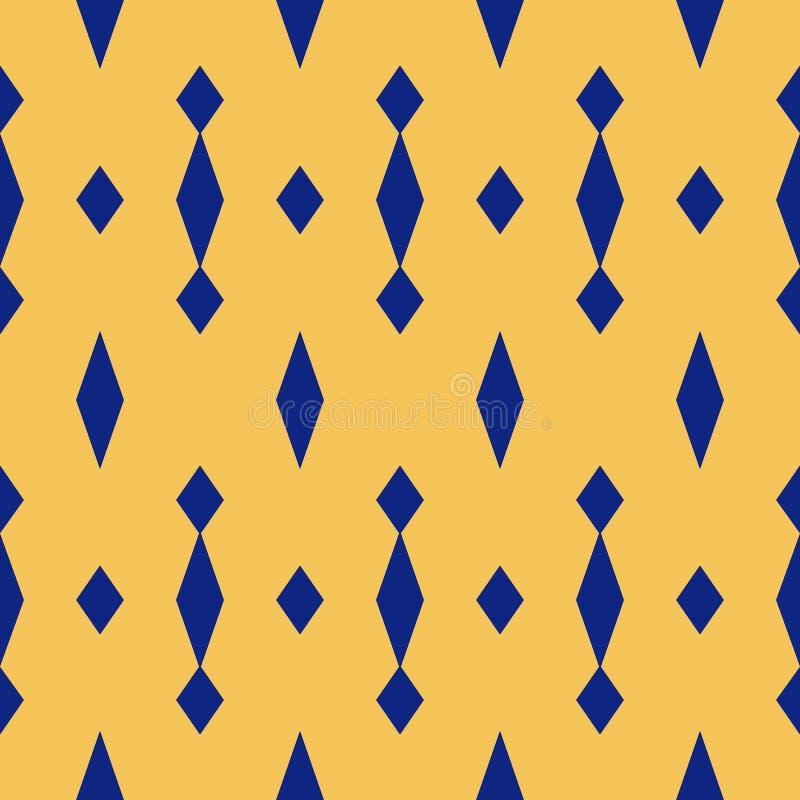 Prosty wektorowy geometryczny bezszwowy wzór z rhombuses Marynarki wojennej błękit i kolorów żółtych kolory royalty ilustracja