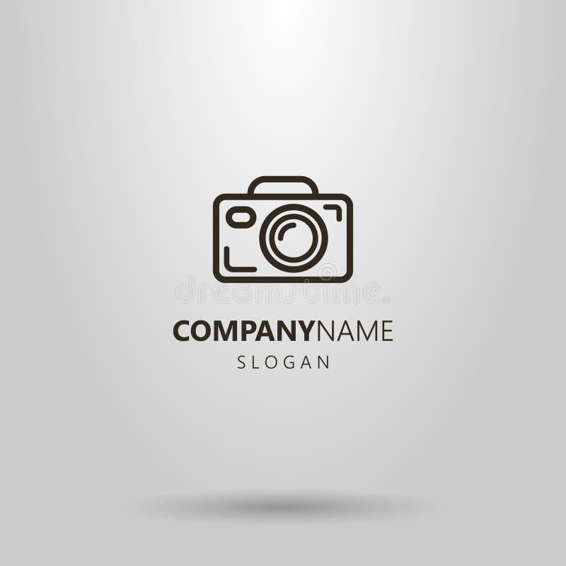 Prosty wektorowy kreskowej sztuki kamery logo ilustracji