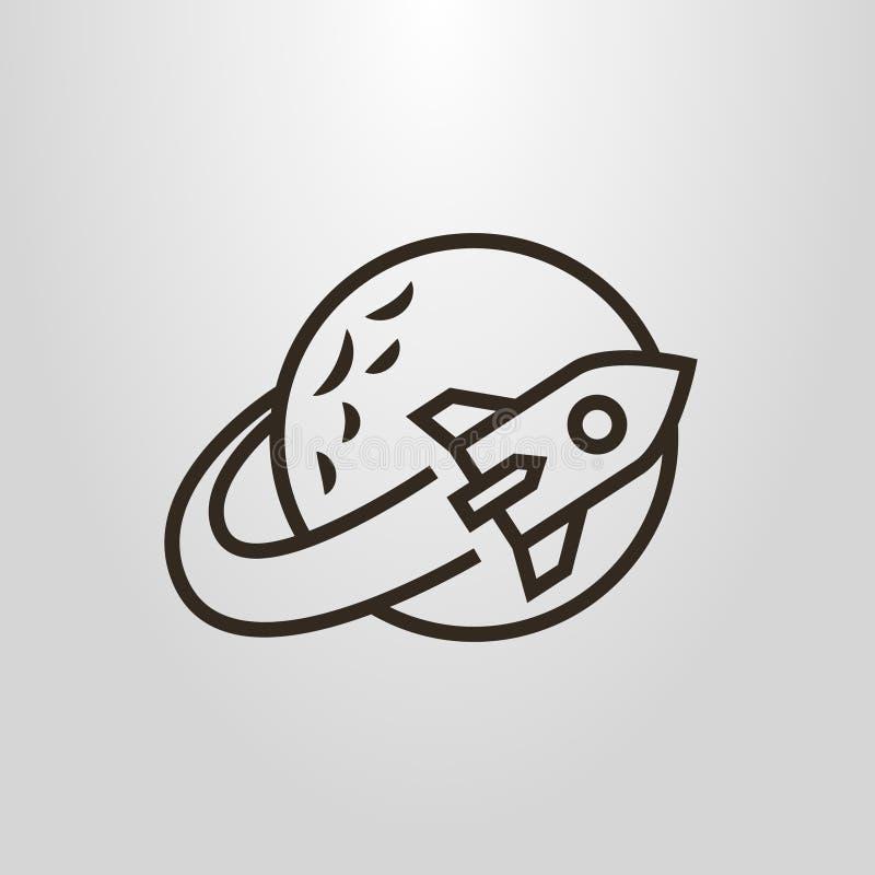 Prosty wektorowy kreskowej sztuki piktogram astronautycznej rakiety latanie wokoło planety royalty ilustracja