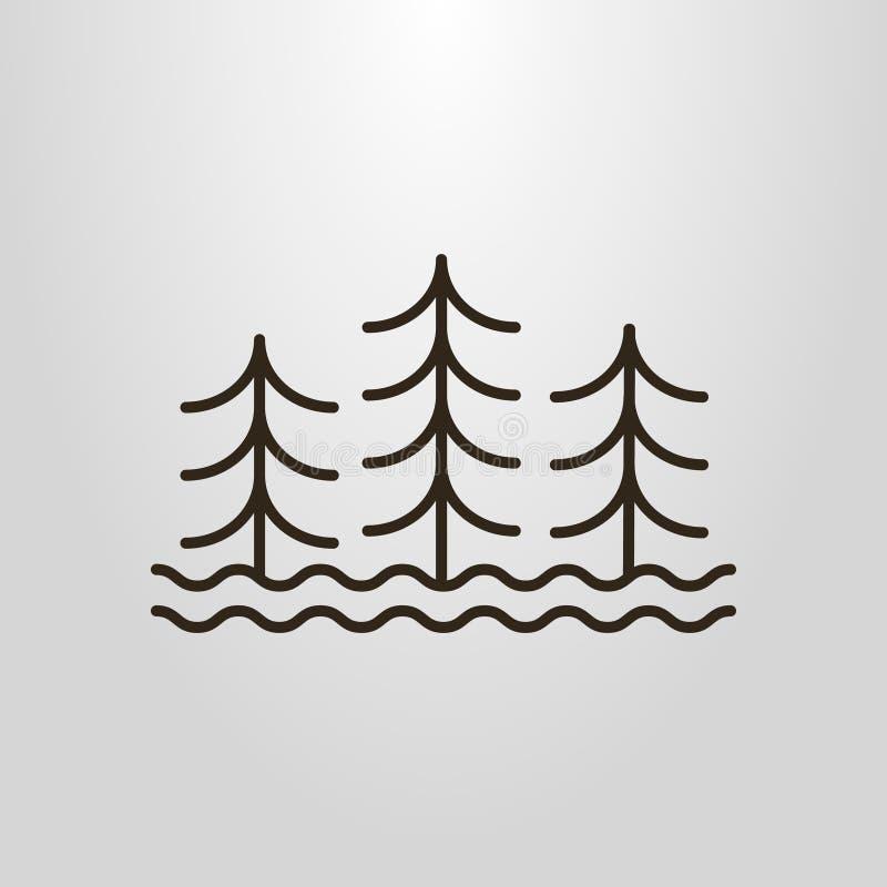 Prosty wektorowy kreskowej sztuki piktogram trzy abstrakcjonistycznego drzewa i wodnych fala ilustracja wektor