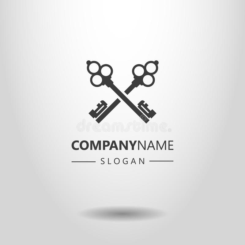 Prosty wektorowy logo dwa krzyżował retro stylowych klucze royalty ilustracja