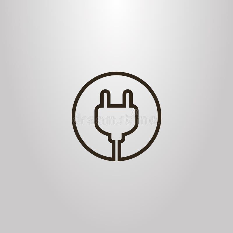 Prosty wektorowy odosobniony kreskowej sztuki znak elektryczny czopuje wewnątrz round ramę royalty ilustracja