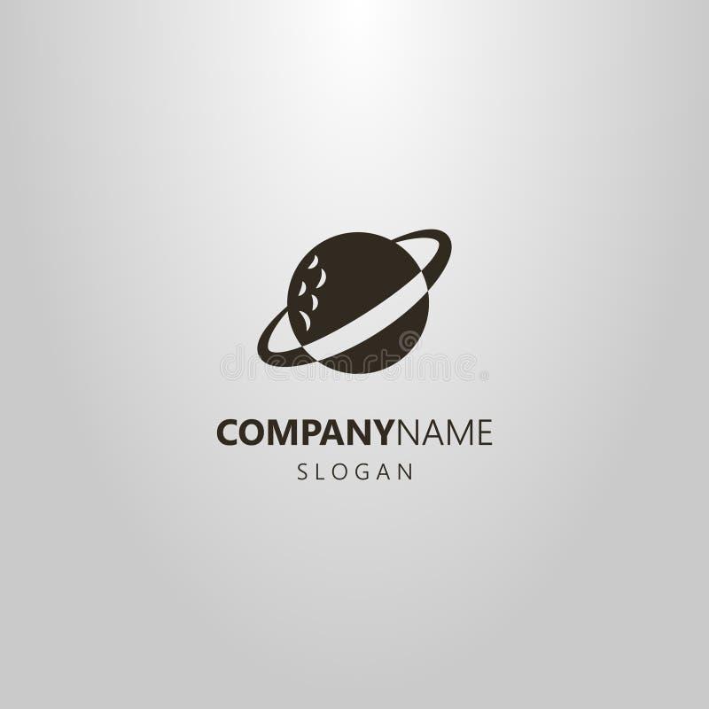 Prosty wektorowy płaski sztuka logo abstrakcjonistyczna Saturn planeta ilustracji