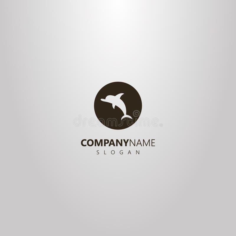 Prosty wektorowy płaski sztuka negatywu przestrzeni logo delfin w round ramie ilustracja wektor