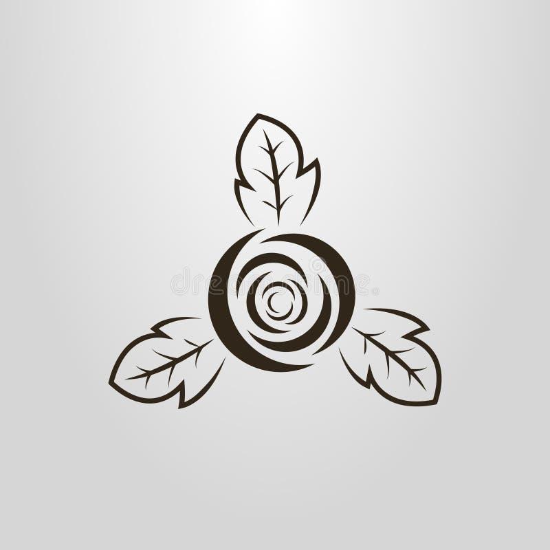 Prosty wektorowy piktogram abstrakt róży pączek ilustracji