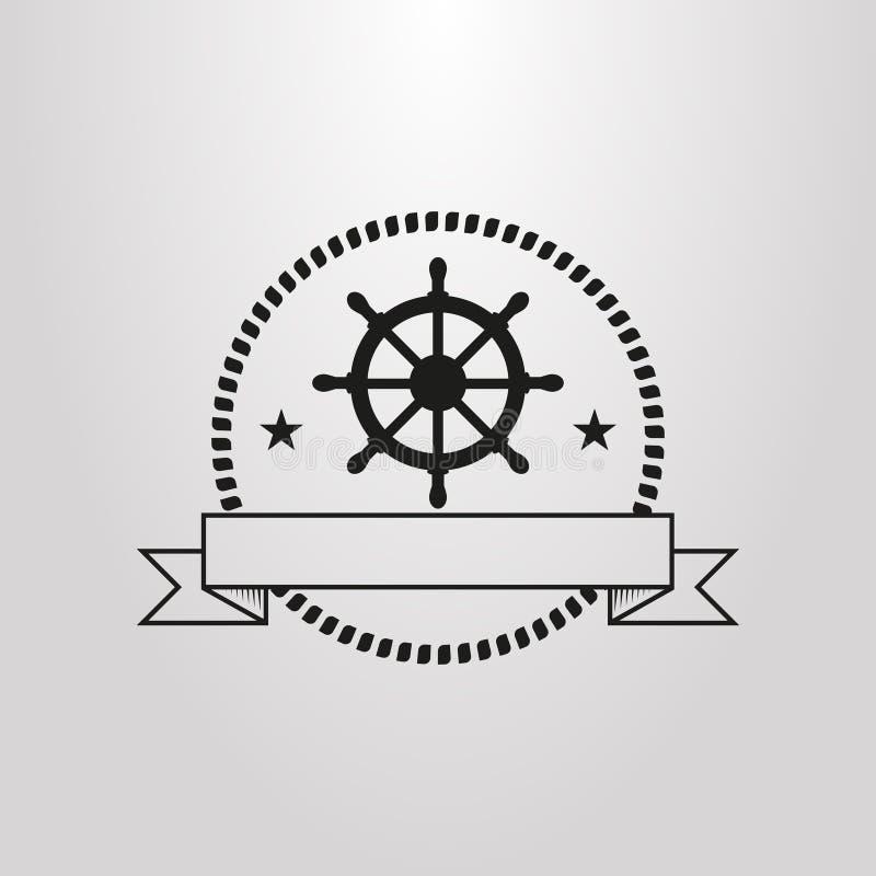 Prosty wektorowy piktogram kierownica w okręgu arkany rama royalty ilustracja