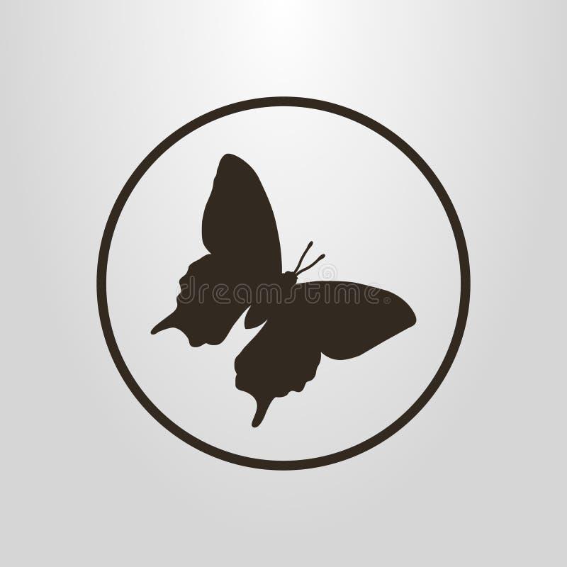 Prosty wektorowy piktogram motyl w round ramie ilustracja wektor