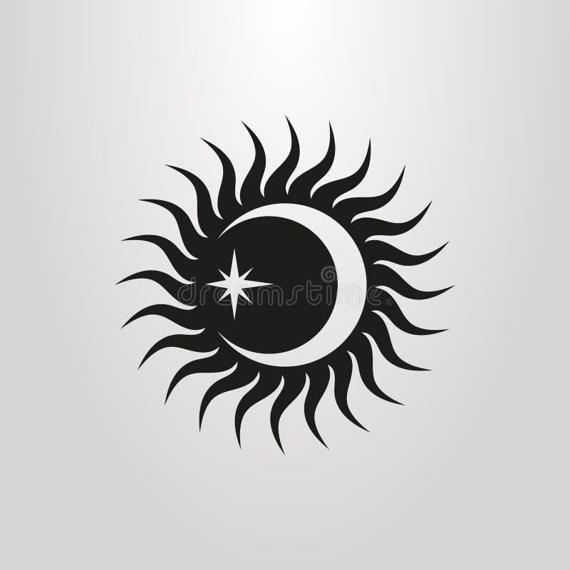 Prosty wektorowy piktogram promienie, księżyc i gwiazda słońca, ilustracja wektor