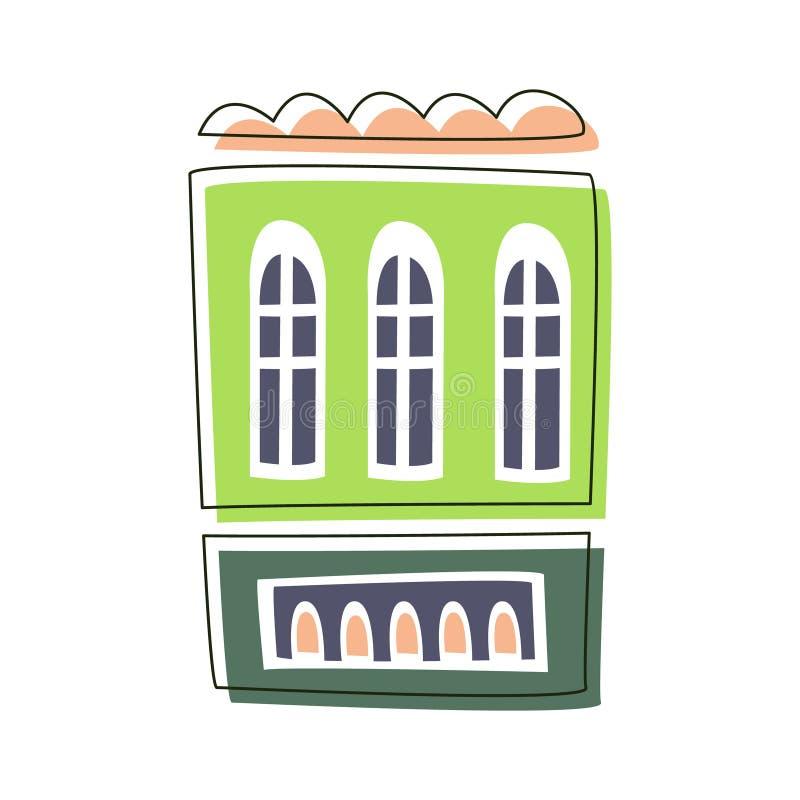 Prosty Zielony utrzymanie dom, Ślicznego bajki miasta krajobrazu elementu kreskówki Zarysowana ilustracja ilustracji