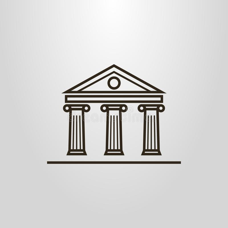 Prostych kreskowej sztuki wektorowych kolumn budynku antykwarski piktogram ilustracji