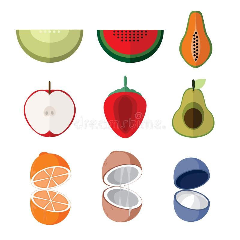 Prostych mieszkanie plasterka Otwartych owoc ilustraci Wektorowy set ilustracja wektor