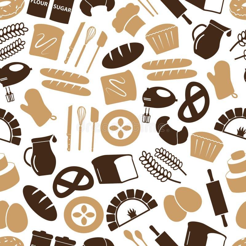 Prostych piekarni rzeczy ikon koloru bezszwowy wzór eps10 ilustracji