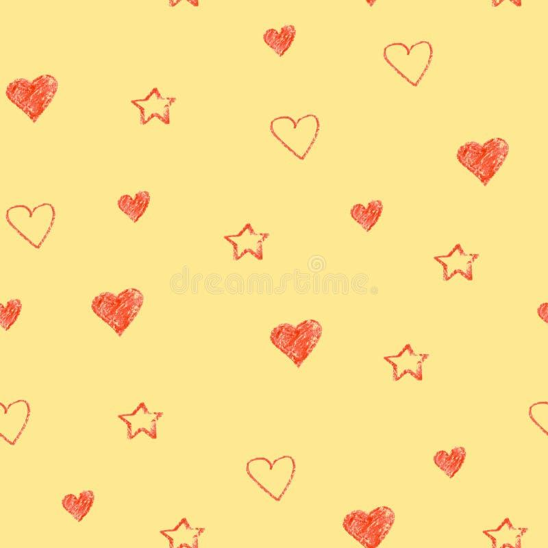 Prostych serc pastelu bezszwowy wzór Walentynka dnia tło Płaskiego projekta niekończący się chaotyczna tekstura robić malutki ser ilustracji