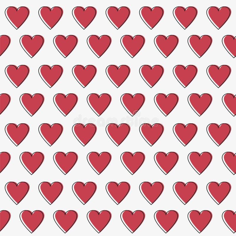 Prostych serc wektoru bezszwowy wzór Walentynka dnia tło Płaski projekt ilustracja wektor