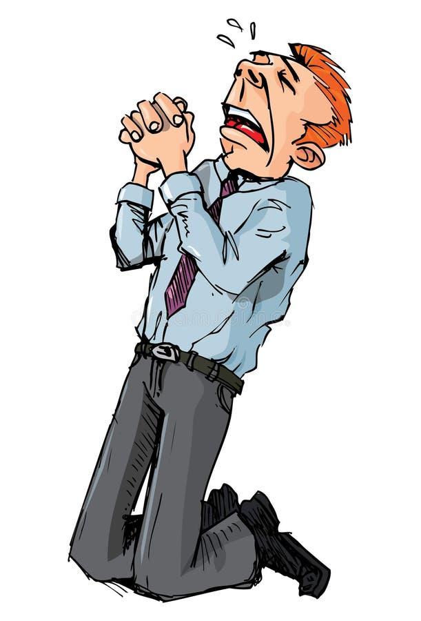 proszałna kreskówki mężczyzna litość royalty ilustracja