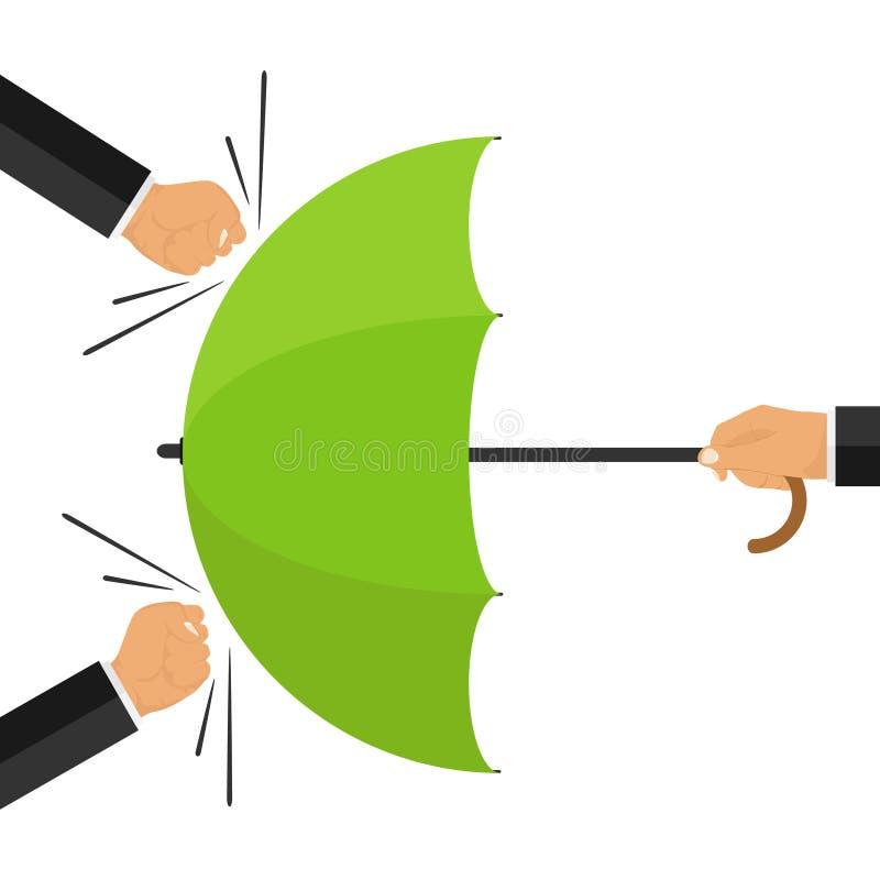 Protégé contre l'attaque Le concept de la protection contre des attaques externes La main tient le parapluie contre des poings Ga illustration de vecteur