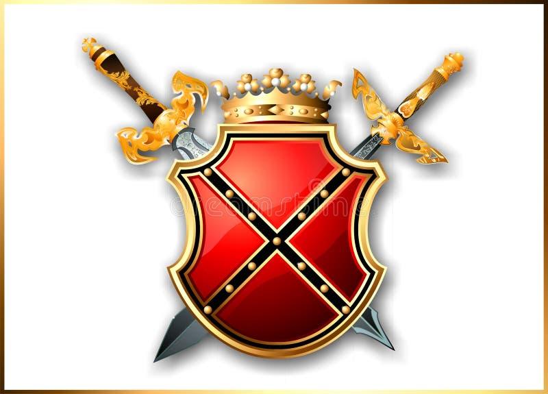 Protégez et deux épées du monde de l'imagination illustration stock