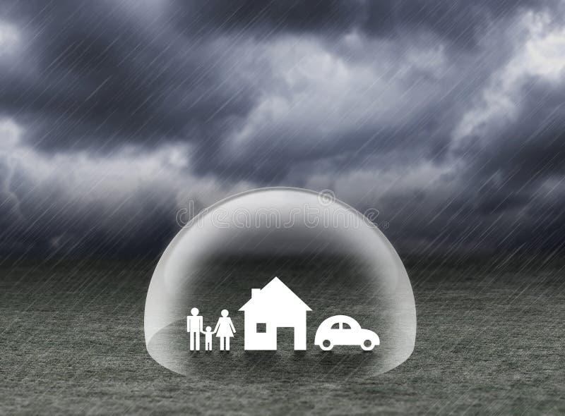 Protégez la maison, la voiture et la famille de bâche sous la pluie illustration de vecteur