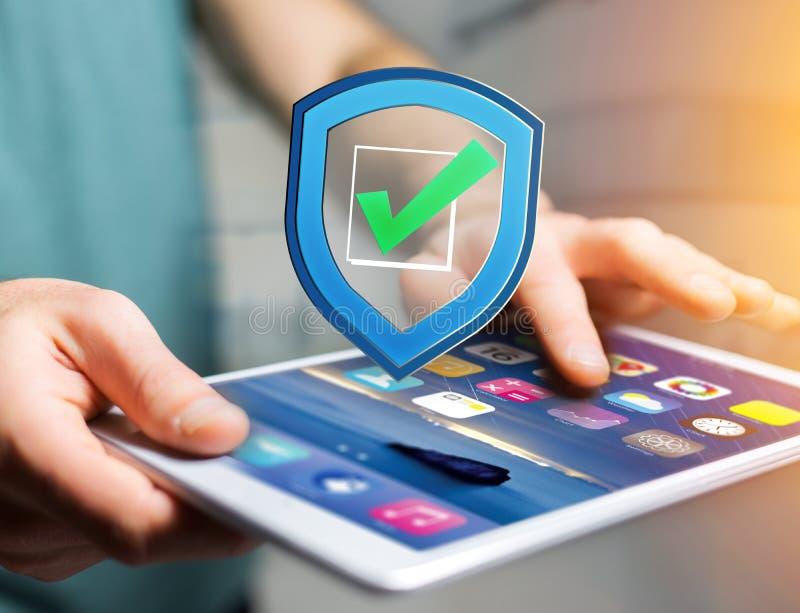 Protégez le symbole montré sur une interface futuriste - sécurité et photographie stock libre de droits