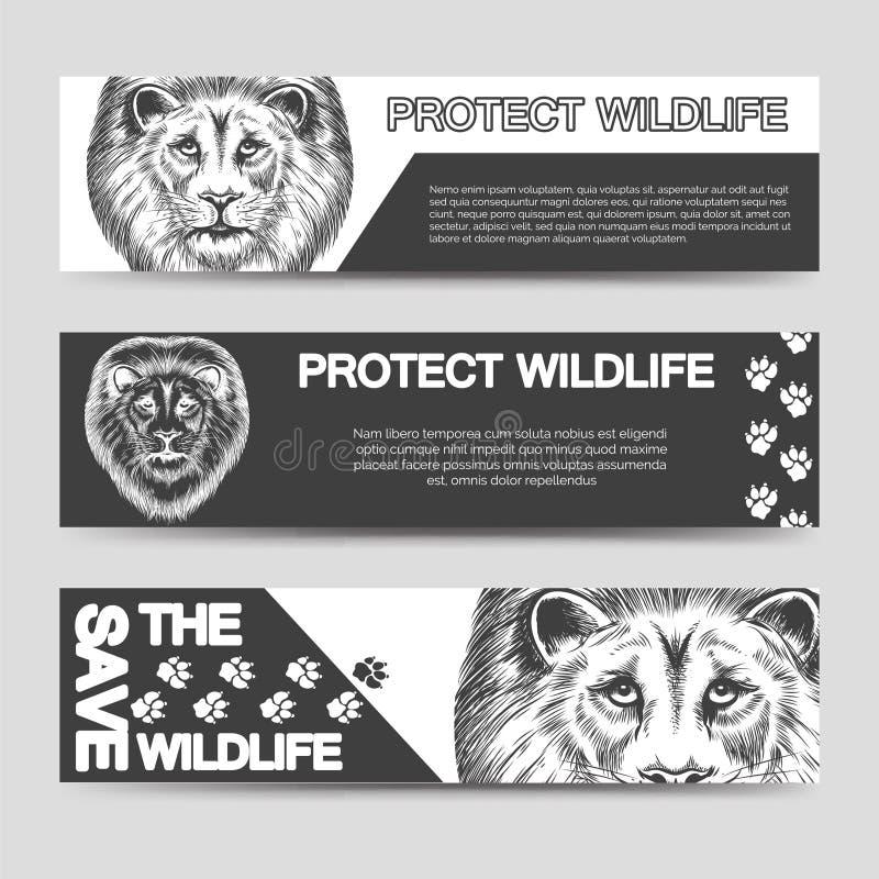Protégez les bannières de nature avec le lion illustration stock