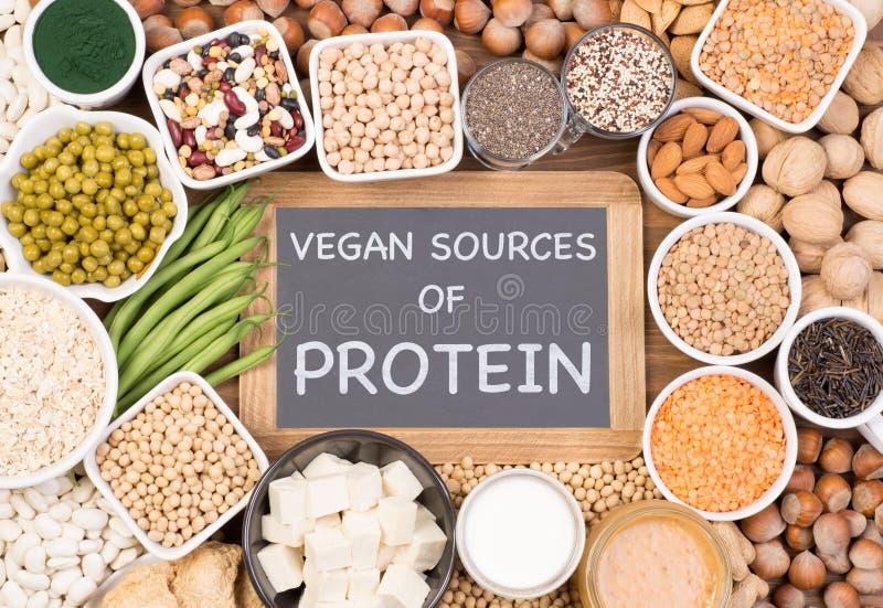 Protéine dans le régime de vegan Sources de nourriture de protéine de vegan image stock