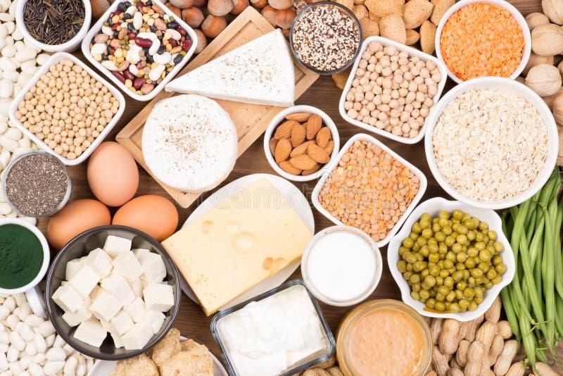 Protéine dans le régime végétarien Sources de nourriture de protéine végétarienne photo stock