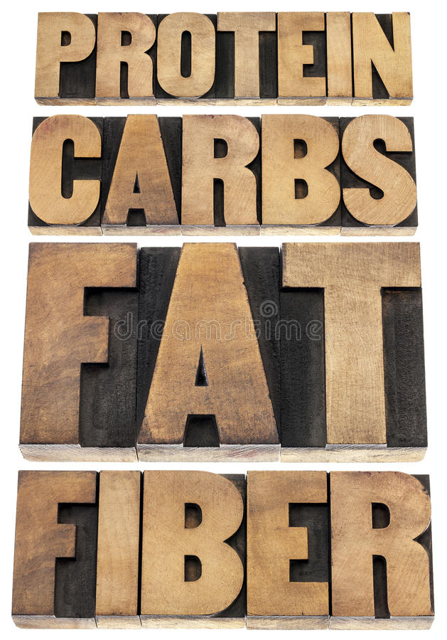 Protéine, glucides, graisse, fibre photo libre de droits