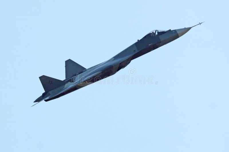 Protótipo de Sukhoi PAK FA T-50, vista lateral imagem de stock royalty free