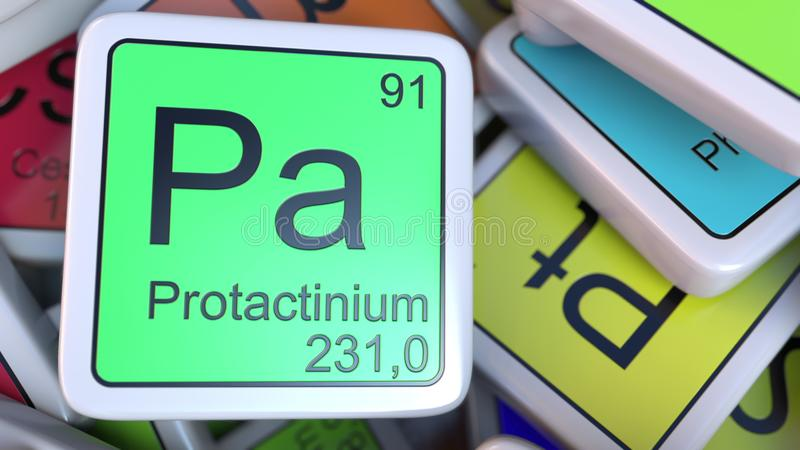 Protactinium Pa block on the pile of periodic table of the chemical elements blocks. 3D rendering stock illustration