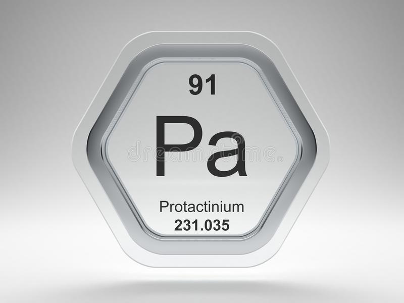 Protactinium symbol hexagon frame stock illustration