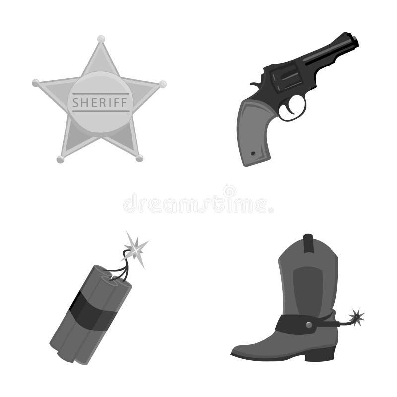 Protagonice al sheriff, potro, dinamita, bota de vaquero Los iconos determinados de la colección del oeste salvaje en estilo mono ilustración del vector